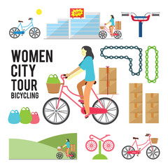 Women City Tour Bicycling illustration over color background