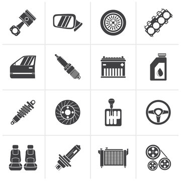 Black Detailed car parts icons - vector icon set
