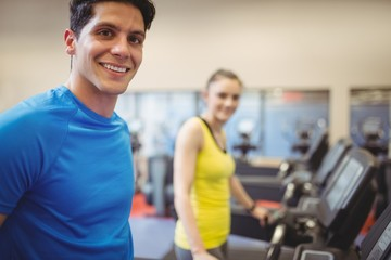 Fit people using the treadmill