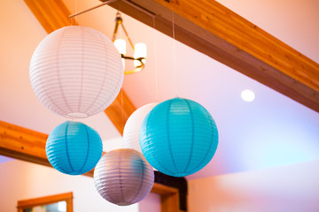 Blue and White Paper Lanterns