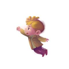 Illustration: The Sad Boy. Don't go. Don't leave me alone. Fantastic Cartoon Style Character Design.