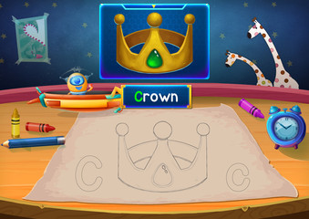 Illustration: Martian Class: C - Crown. The Martian in this picture opens a class for all Aliens. You must follow and use crayons coloring the outlines below. Fantastic Sci-Fi Cartoon Scene Design.