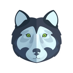 Husky or wolf head flat logo vector.