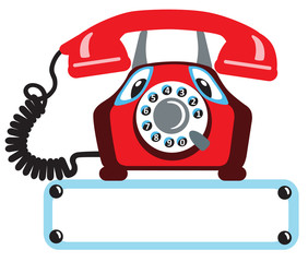 cartoon old rotary phone isolated on white background