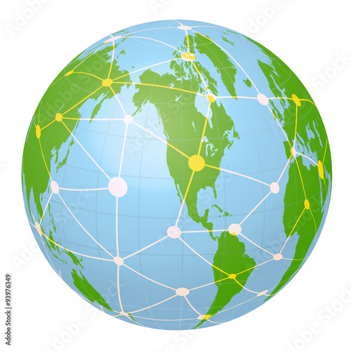 Pseudo Earth that contains the whole world map and Worldwide network ...