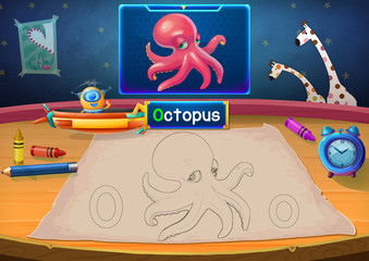 Illustration: Martian Class: O - Octopus. The Martian in this picture opens a class for all Aliens. You must follow and use crayons coloring the outlines below. Fantastic Sci-Fi Cartoon Scene Design.