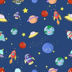 Space seamless pattern cartoon vector illustration