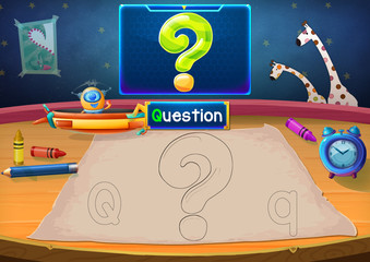 Illustration: Martian Class: Q - Question Mark. Martian in the picture opens a class for all Aliens. You must follow and use crayons coloring the outlines below. Fantastic Sci-Fi Cartoon Scene Design