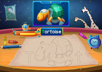 Illustration: Martian Class: T - Tortoise. The Martian in this picture opens a class for all Aliens. You must follow and use crayons coloring the outlines below. Fantastic Sci-Fi Cartoon Scene Design.