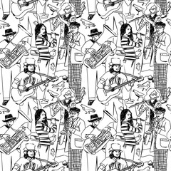 Group street musicians and birds seamless monochrome pattern