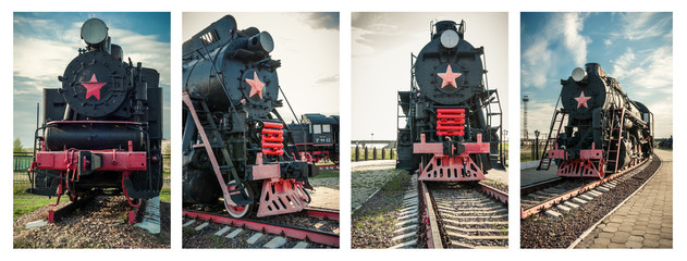 Set of a old steam locomotives of the 20th century