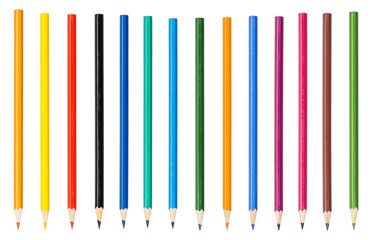 Set of a colored pencils isolated on a white background