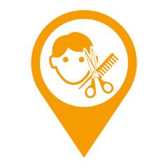 Icono plano localizacion peluqueria masculina naranja