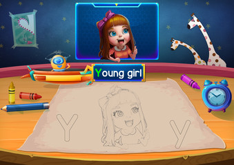 Illustration: Martian Class: Y - Young girl. The Martian in the picture opens a class for all Aliens. You must follow and use crayons coloring the outlines below. Fantastic Sci-Fi Cartoon Scene Design