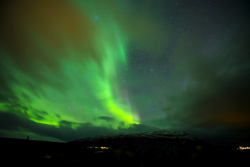 Northern Lights with adventure the cold at Abisko, Sweden.