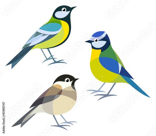 Stylized Birds - Great Tit, Blue Tit, Willow Tit\