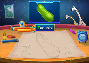 Illustration: Martian Class: Z - Zucchini. The Martian in this picture opens a class for all Aliens. You must follow and use crayons coloring the outlines below. Fantastic Sci-Fi Cartoon Scene Design.