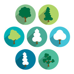 Tree icon set. Simply circle green flat pictograms.