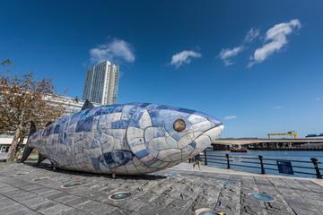 The Big Fish sculpture in Belfast, Northern Ireland