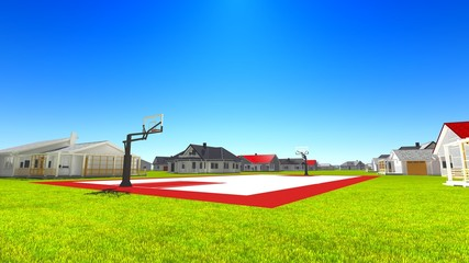 Suburban houses with basketball field