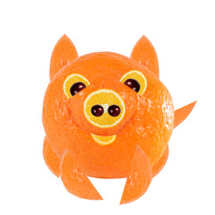 Healthy eating.  Little pig, made of orange