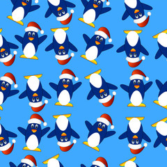 Seamless Christmas background with penguins