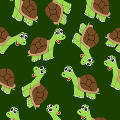 Seamless background with turtles