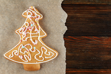 Gingerbread in the shape of a christmas tree