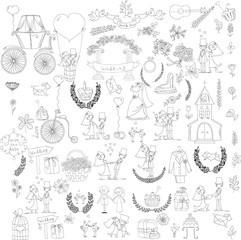 Doodle wedding set for invitation cards, including template design decorative elements - flowers, bride, groom, church, hearts