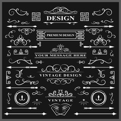 Set of Vintage Decorations Elements. Flourishes Calligraphic Ornaments and Frames. Retro Style Design Collection for Invitations, Banners, Posters, Placards, Badges and Logotypes. Vector illustration