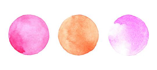 Watercolor painted circles set