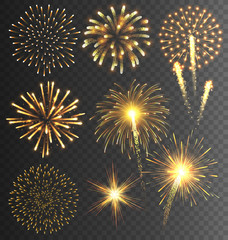 Festive Golden Firework Salute Burst on Transparent Background