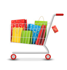 Sale Colorful Shopping Cart with Bags Isolated on White Backgrou