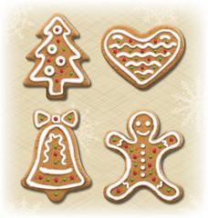 Set of Gingerbread Christmas Cookies on Beige Background