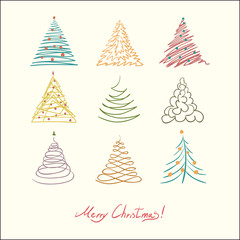 Сhristmas tree set. Vector simple illustration. Retro color.