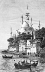View of Sidon, vintage engraving.