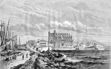 View of Palma, Mallorca, vintage engraving.