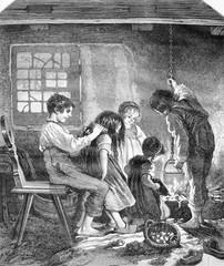 A household of orphans, souvenir des Vosges, vintage engraving.