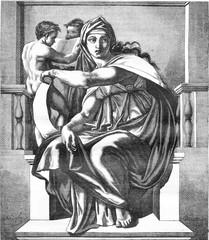 Sistine Chapel The Delphic Sibyl, fresco by Michelangelo, vintag