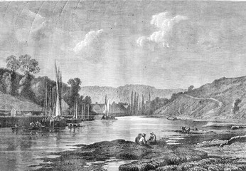 1876 Exhibition of Painting, The Port of Pont Aven, vintage engr