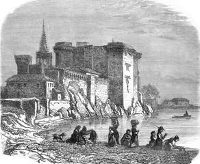 The Castle of Tarascon, vintage engraving.