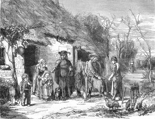 A Village Scene, vintage engraving.