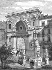 The Statue of Leonardo da Vinci and the Galleria Vittorio Emanue