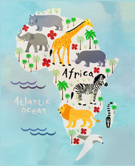 mapa zwierząt kreskówki - 93993137