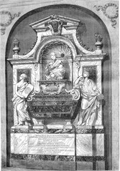 The Tomb of Galilee, at Santa Croce, vintage engraving.
