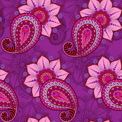 Henna Mehendi Tattoo Seamless Pattern on a pink background