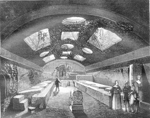 The Underground of St. Clement of Rome, vintage engraving.