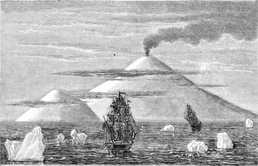 South Pole, Volcano Island in Beaufort, vintage engraving.