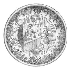 Earthenware bowl of Paris, A grocer counter in the eighteenth ce