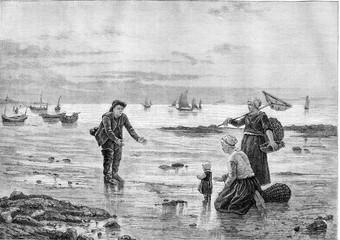 Salon of 1882; Painting. On the beach, table F. Blayn, vintage e